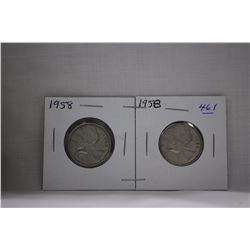 Canada Twenty-five Cent Coins (2) 1958 - Silver