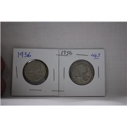 Canada Twenty-five Cent Coins (2) 1956 - Silver
