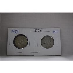 Canada Twenty-five Cent Coins (2) 1953 - Silver