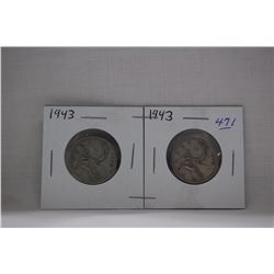 Canada Twenty-five Cent Coins (2) 1943 - Silver