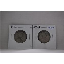 Canada Twenty-five Cent Coins (2) 1942 - Silver