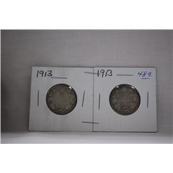 Canada Twenty-Five Cent Coins (2) 1913 - Silver