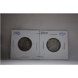 Canada Twenty-Five Cent Coins (2) 1910 - Silver