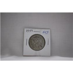 Canada Fifty Cent Coin (1) 1959 - Silver