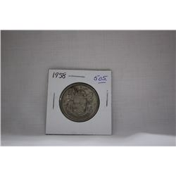 Canada Fifty Cent Coin (1) 1958 - Silver