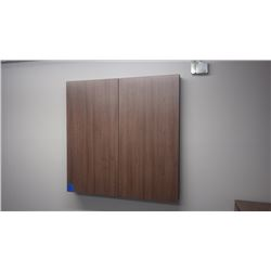 CUSTOM BUILT WALNUT WOODGRAIN 48 X 48 WHITE BOARD CABINET