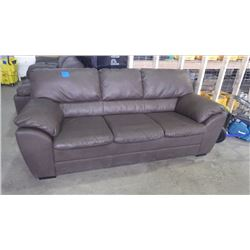 BROWN FULL LEATHER 7' 3 SEATER SOFA