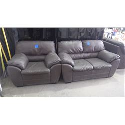 "BROWN FULL LEATHER 62"" LOVESEAT AND 45"" LEATHER CHAIR"