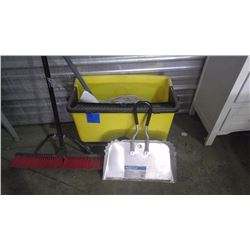 RUBBERMAID MOP PAIL ON WHEELS AND MOP BROOM AND DUST PAN