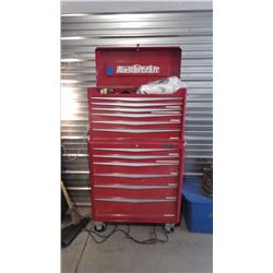 MASTERCRAFT 12 DR TOOL BOX ON WHEELS W/UPPER AND LOWER CABINETS AND CONTENTS AS PICTURED