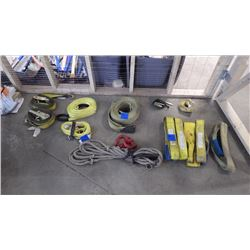 ASSORTED HEAVY DUTY STRAPS, ROPE AND 2 HOOKS