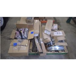 ENTIRE PALLET OF STRAND SPLICE, BOLTS BRACKETS, AND ASSORTED HARDWARE