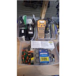 4 LABEL MACHINES / TRAY OF BATTERIES / 3 SCOTCH TAPE DISPENSERS AND CARBON MONOXIDE DETECTOR