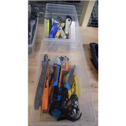 2 BINS OF SPLICING AND CONNECTOR TOOLS AS PICTURED