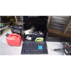 """POULAN MODEL 38 - 16"""" GAS CHAIN SAW / JERRY CAN AND MISC. LUBES IN CASE"""