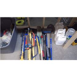 2 BOLT CUTTERS / PIC AXE / SHOVELS / BUCK SAW / BROOMS, ETC. AS PICTURED