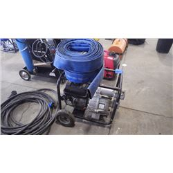 7 HP POWER FIST GAS WATER PUMP WITH HOSE. 3  INLET AND OUTLET 264 GPM MAX FLOW