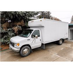1996 FORD E350 DIESEL 16' CUBE VAN WITH FULL COMPLETE SELF CONTAINED WORKSHOP AND OFFICE. VIN 1FDKE3
