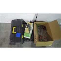 "NEW PLASTIC TOOL BOX / 1 NEW SUPERIOR 4 1/2"" ANGLE GRINDERS AND BOX OF NEW CAULKING GUNS"