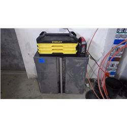 HUSKEY METAL TOOL CABINET, STANLEY TOOL BOX WITH 3 TRAYS BITS, SOCKETS, PORTABLE AIR COMPRESSOR