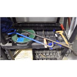 ASSORTED TOOLS AS PICTURED, MAN HOLE PULLERS, PRY BARS, FISH TAPE AND TARP