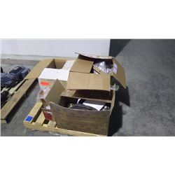 PALLET OF MISC PARTS INCLUDES V BELTS, GASKETS, PRESSURE SWITCHES, O RINGS, BEARINGS, BEARING HOUSE