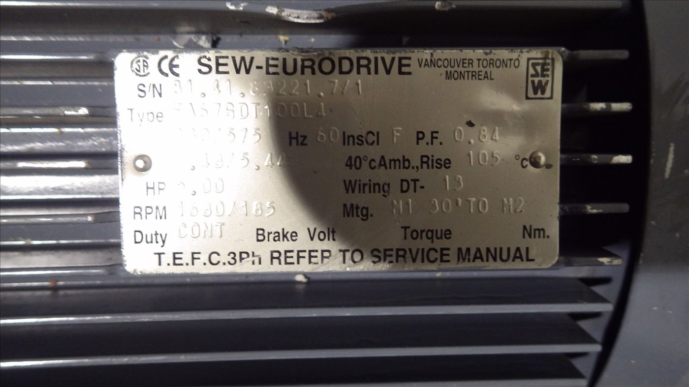 Unused Sew Euro Drive 5 Hp 575 Volt 3 Phase Gear Box And Motor Wiring Image 2