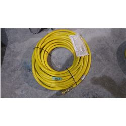 """APPROX 50' KURITEC 1/2"""" 300 PSI YELLOW AIR HOSE WITH DELUXE LOCKING COUPLERS USA MADE"""