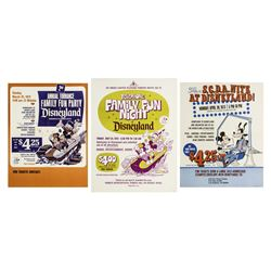 Set of (3) 1973 Disneyland Ticket Booth Posters.