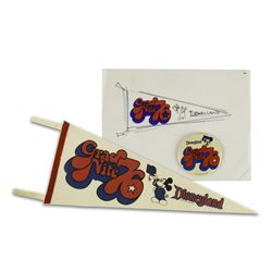 Original Grad Nite '76 Pennant Concept Artwork and Pin.