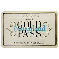 Roy Disney 1967 Disneyland Gold Pass.