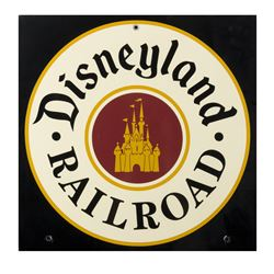Disneyland Railroad Metal Sign.