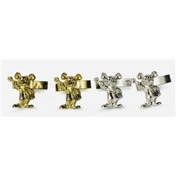Silver and Gold Sterling Mickey Cufflinks.