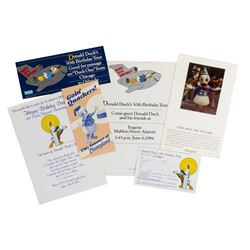Set of (6) Donald Duck's 50th Birthday Promotional Items.
