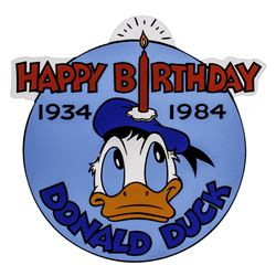 Happy Birthday Donald Duck Lamppost Sign.