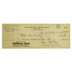 "Don DeFore's ""Silver Banjo"" Disneyland Check."