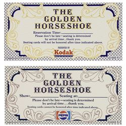 "Pair of ""Golden Horseshoe"" Reservation Tickets."