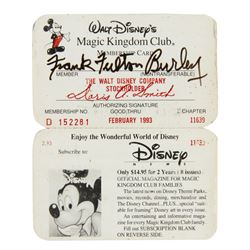 Fulton Burley Magic Kingdom Club Membership Card.