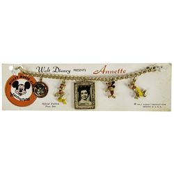 "Annette Funicello ""Mickey Mouse Club"" 5-Charm Bracelet."