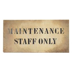 "Maintenance Staff Only ""Tower of Terror"" Sign."