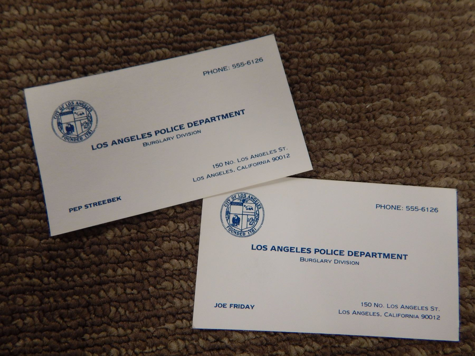 Prop Business Cards Screen Used Dragnet