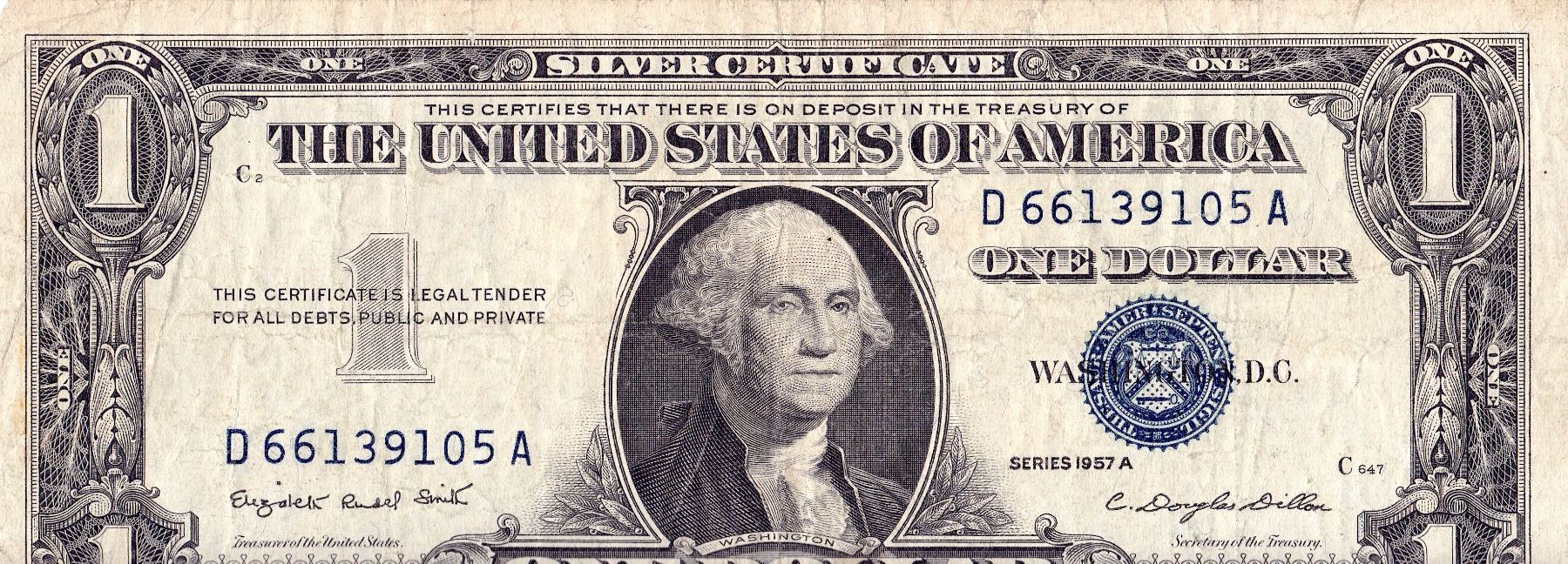 Currency Paper Usa 1 Dollar Silver Certificate