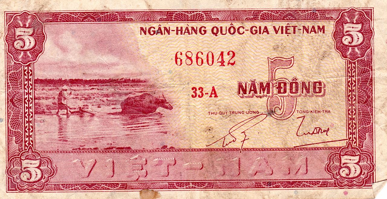 Image 1 Currency Paper Vietnam 5 Dollar Nam Dong