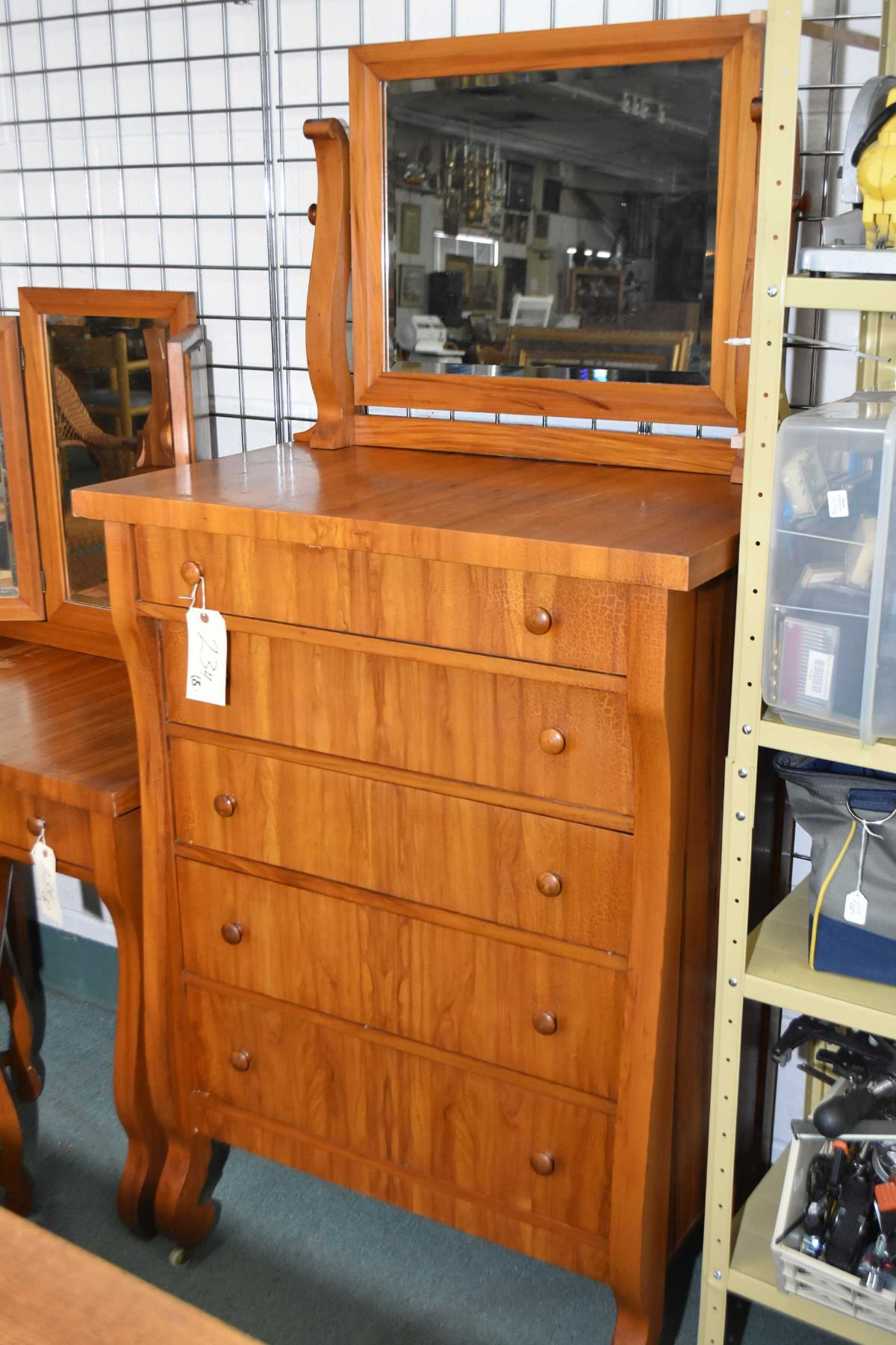 Image 2 Antique Empire Style Bedroom Suite Including Five Drawer Highboy Three Dresser