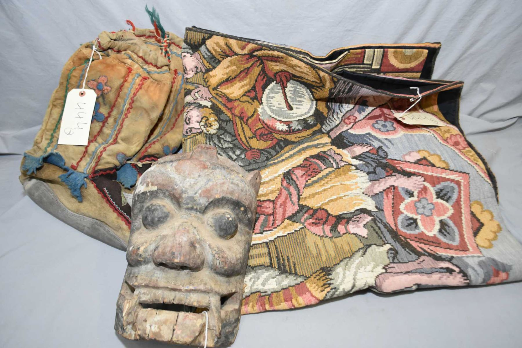 Image 1 Pair Of Vintage Embroidered Mukluks Carved Wooden Mask And A Modern Tapestry