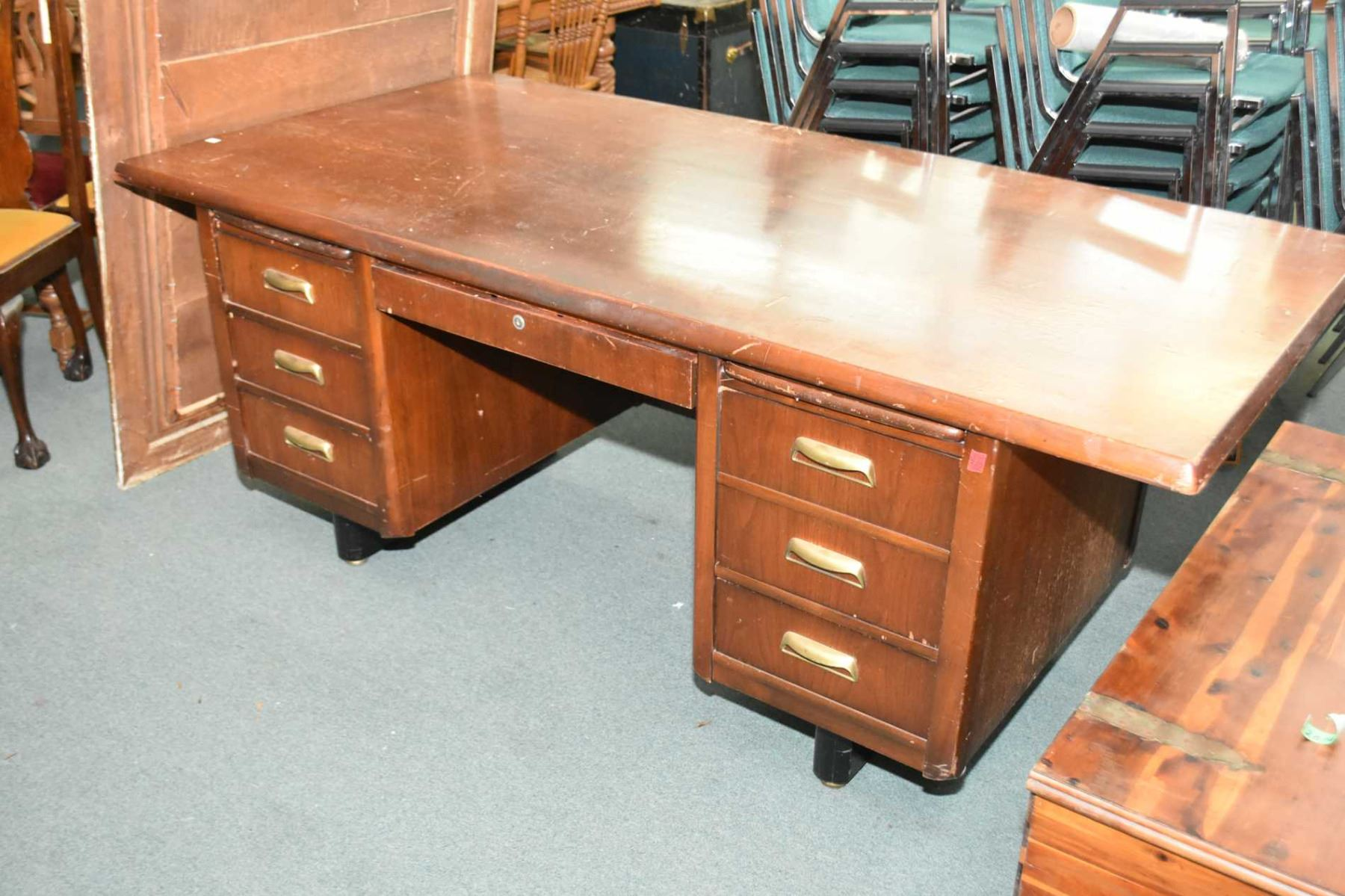 Image 1 : Vintage Wooden Office Desk With Five Drawers Including File  Drawer, Two Pull ...