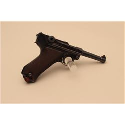 "Mauser Luger semi-automatic pistol, S/42  marked and 1937 dated; 9mm caliber, 4""  barrel, blued fini"