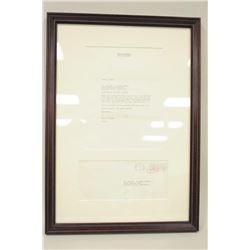 Framed letter addressed to Dr. Brian Herdeg  signed Ronald Reagan dated June 2, 1966 with  original