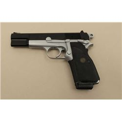 Browning Hi-Power Dual Tone semi-auto pistol,  9mm caliber, Serial #511MW53143.  The pistol  is in v