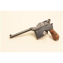 Mauser large ring flat side broomhandle semi-automatic pistol with wood